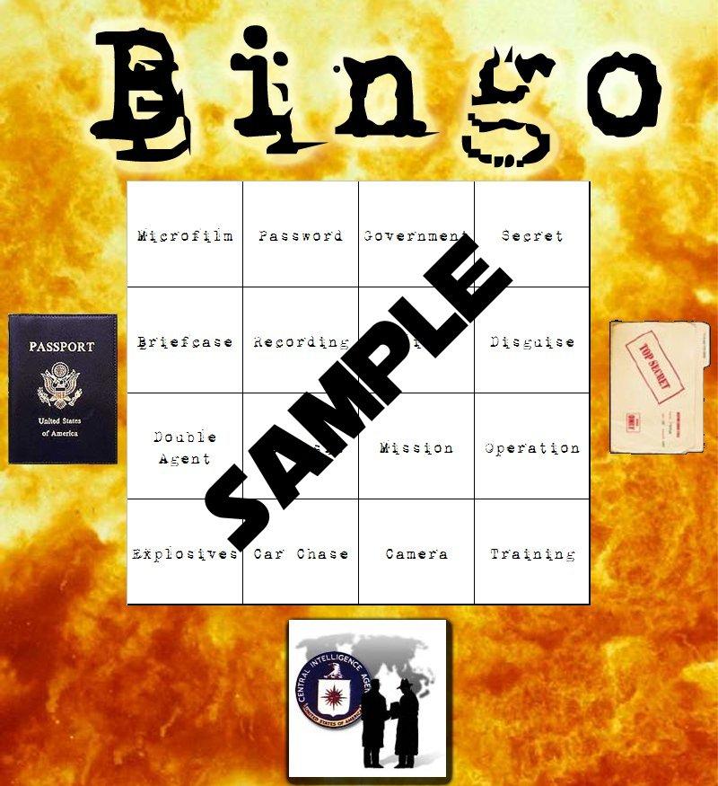 spy themed bingo cards